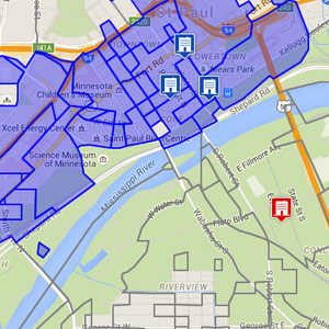 Easy to use map lets you choose delivery area by zip code or address radius