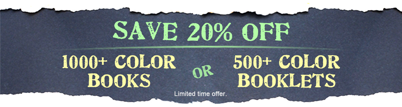 Save 20% Off 1000+ Color Books or 500+ Color Booklets