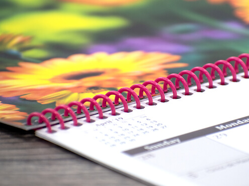 Spiral Bound Calendars Close Up