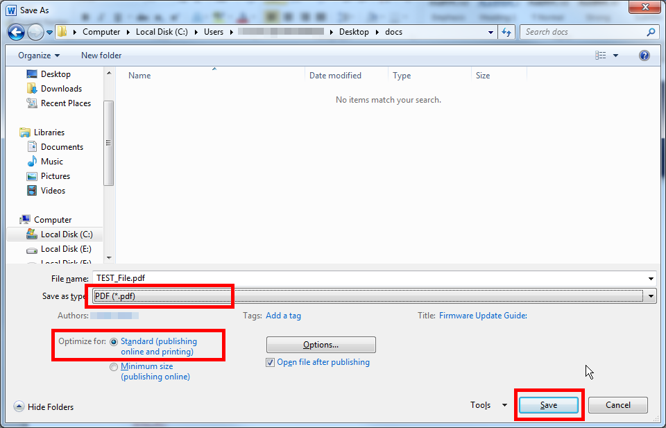 Convert Microsoft Word 2013 To PDF